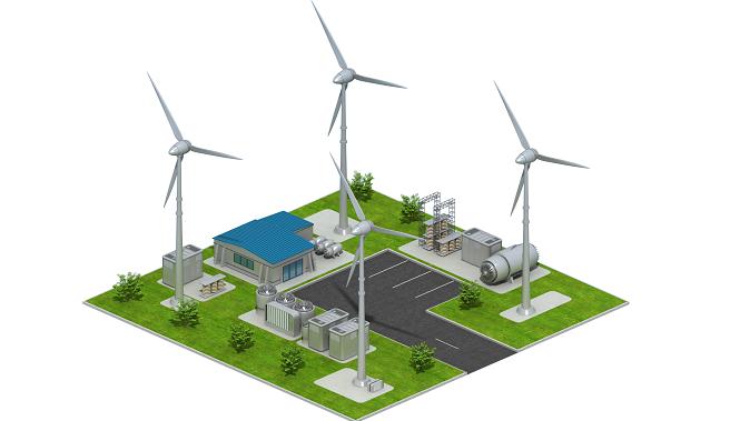 A energia eólica é gerada através de grandes turbinas, ou aerogeradores, em formato de cataventos..
