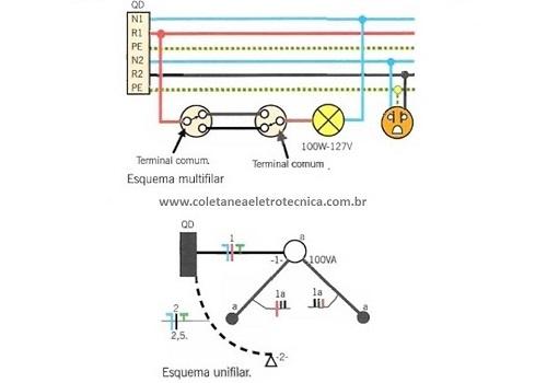 interruptores paralelos e intermediários