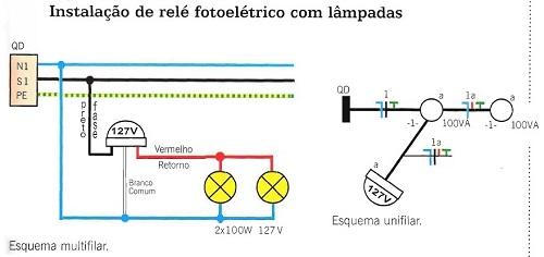Instalação de lâmpadas com relé fotoelétrico