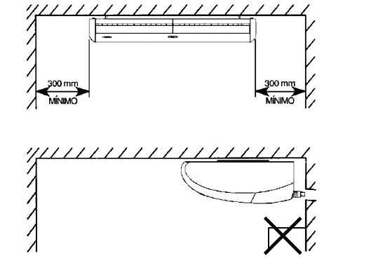 Instalação de unidade evaporadora no teto com uso de parafusos de montagem