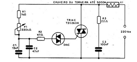 Diagrama mostrando todos os componentes do circuito de um chuveiro eletrônico